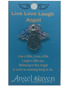 Live Love Laugh Angel Pin