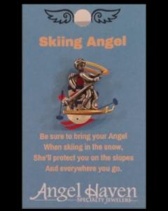 Skiing Angel Pin